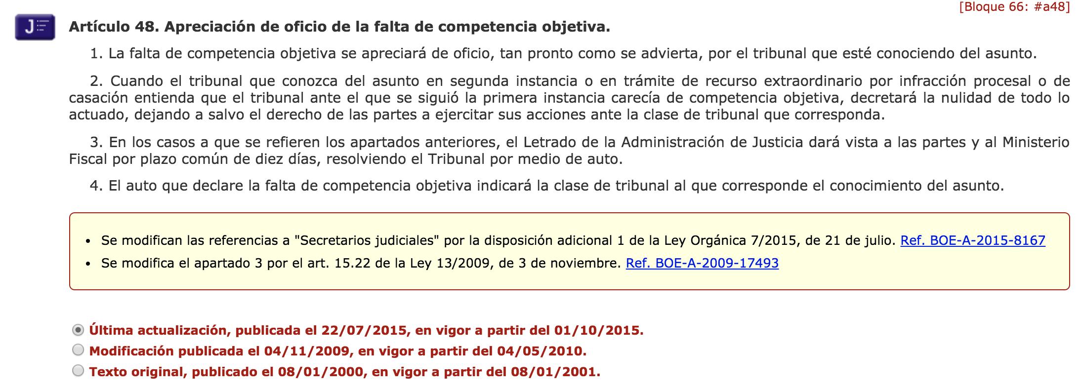 Jurisprudencia y modificación de los artículos del BOE