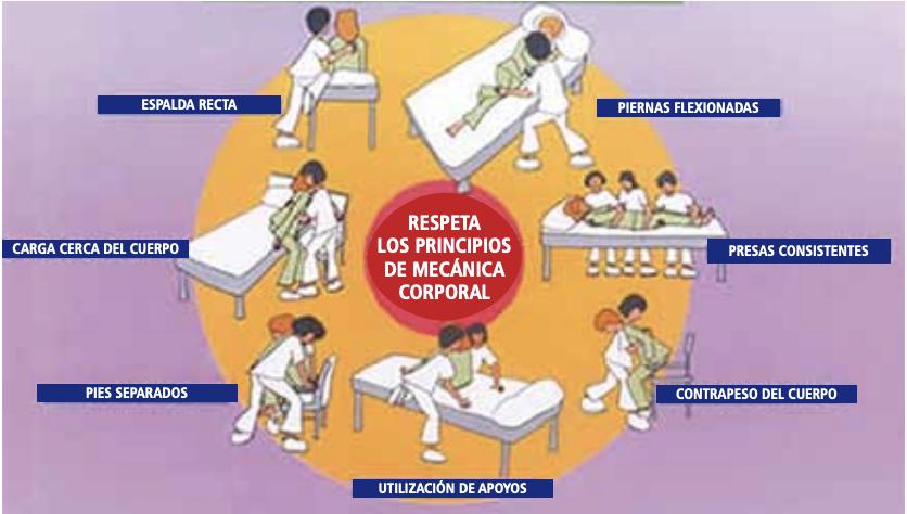 Esquema con dibujos de personal sanitario en diferentes situaciones vinculadas a la movilidad de pacientes y los principios de mecánica corporal