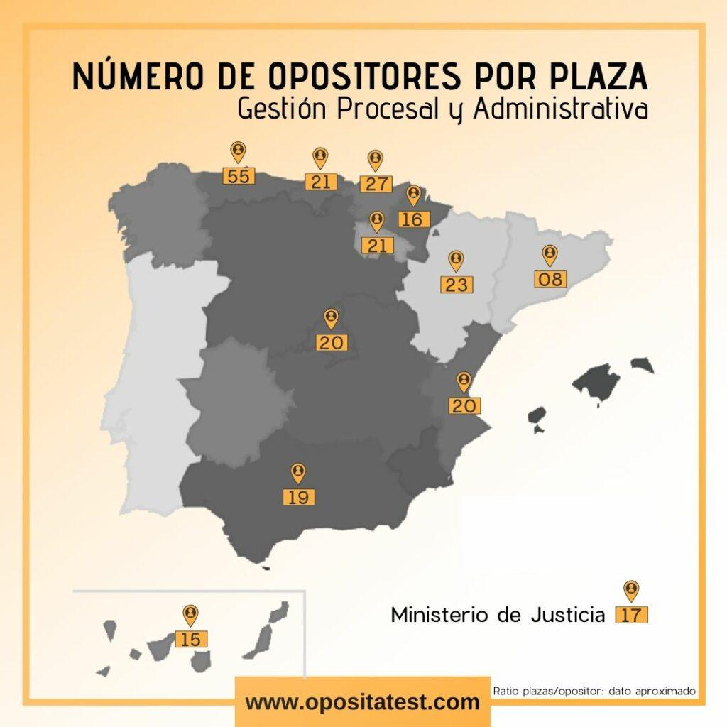 Mapa de España dividido por Comunidades Autónomas en las que se detalla el ratio de opositores para cada plaza convocada en los distintos ámbitos territoriales en la OEP 2017+2018 en Gestión Procesal y Administrativa