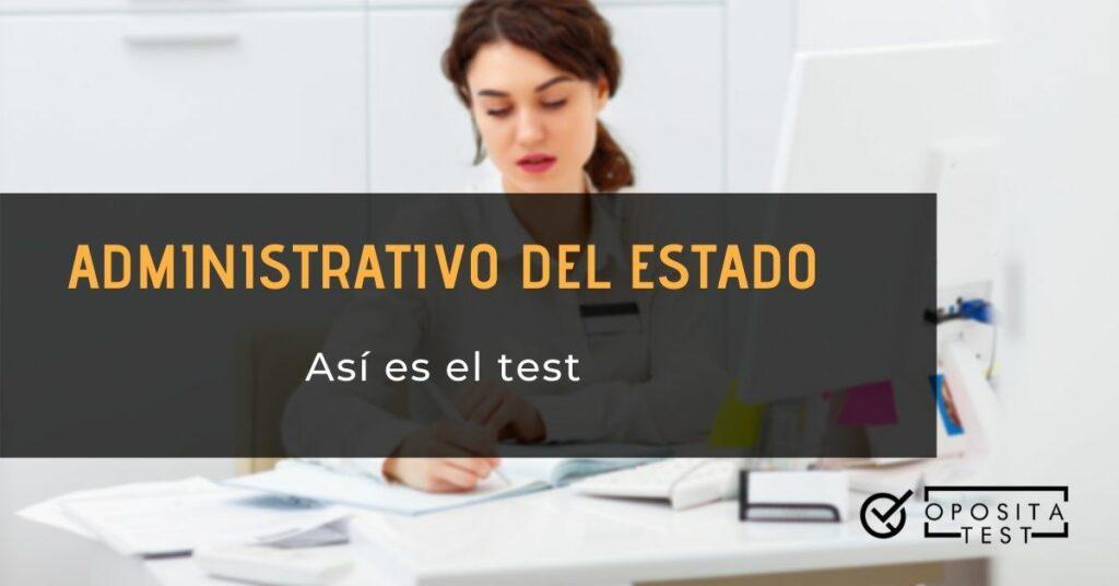 """Persona de cabello oscuro usando ordenador y papeles manuscritos para acompañar al printer """"Así es el test de administrativo del Estado"""""""
