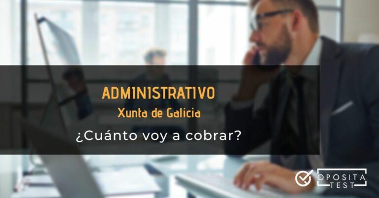 Persona con traje formal en entorno de oficina acompañado del printer en el que se detalla que se hablará del sueldo medio de un administrativo que ejerza para la Xunta de Galicia