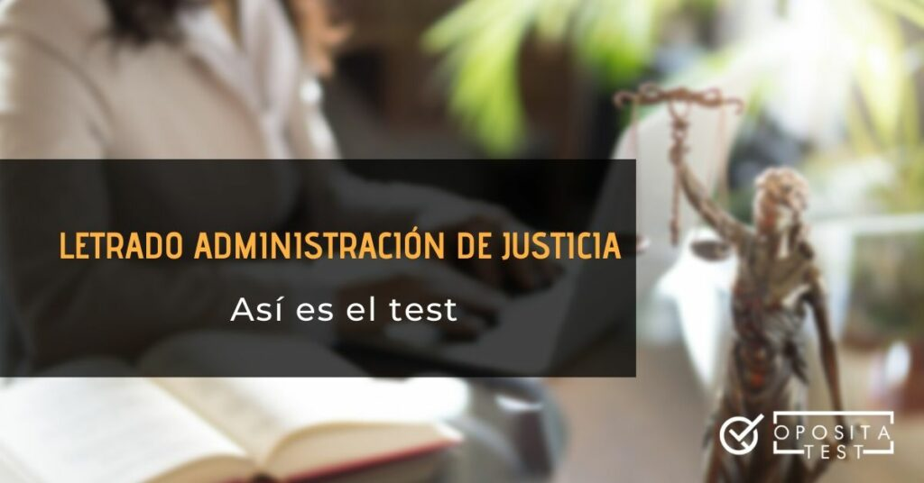Imagen fuera de foco con persona en entorno profesional acommpañada de figura de la justicia para acompañar un contenido sobre el proceso selectivo y test de laj