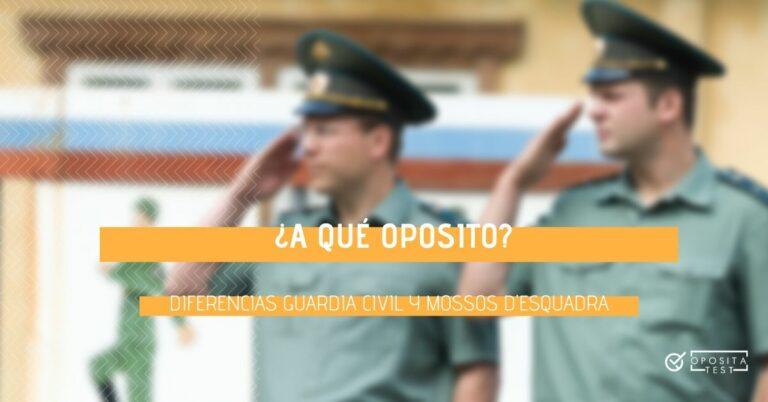 Imagen fuera de foco de dos personas en uniforme color verde haciendo saludo militar para acompañar una entrada en la que se analizan las diferencias entre la oposición a Guardia Civil y la oposición a Mossos d'Esquadra