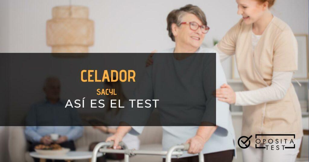 Celadora ayudando a una anciana con un andador. Toda la imagen esta fuera de foco. Se utiliza para ilustrar una entrada sobre el test de celador de SACYL.