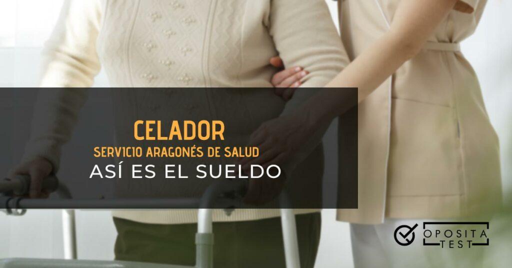Celadora ayudando a una anciana con un andador. Toda la imagen está fuera de foco. Se utiliza para ilustrar una entrada sobre el sueldo de celador en el Servicio Aragonés de Salud.