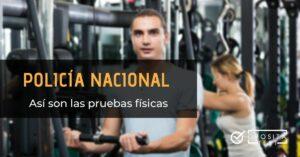 Imagen de dos personas jóvenes en ropa deportiva en un gimnasio en la sala de máquinas para acompañar una entrada en la que se analizan las características de las pruebas físicas a Policía Nacional