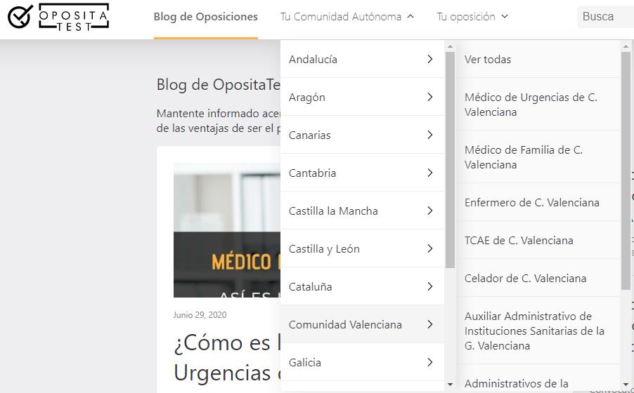 menú por comunidades autónomas del nuevo blog de oposiciones de OpositaTest