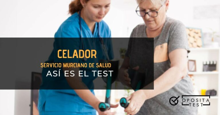 Celadora ayudando a persona mayor a coger las muletas. Toda la imagen está fura de foco. Se utiliza para ilustrar una entrada sobre el test de Celador del Servicio Murciano de Salud .