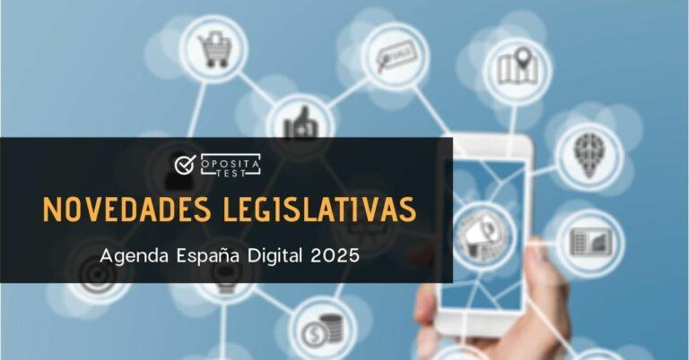 Imagen genérica de smartphone rodeado de burbujas de iconos tecnológicos para acompañar un post en el que se analiza la Agenda España Digital 2025 y las oposiciones afectadas por la misma