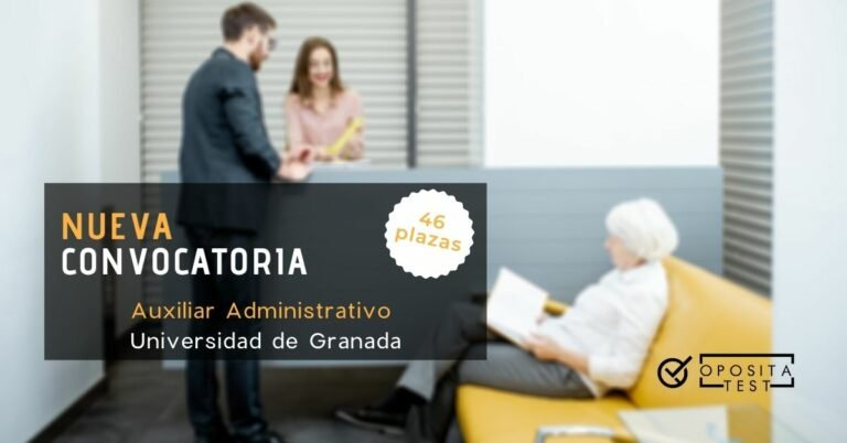 Imagen fuera de foco de varias personas en recepción para ilustrar una entrada en la que se analiza la convocatoria de auxiliar administrativo de la Universidad de Granada
