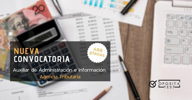 Imagen de presupuestos y calculadora para acompañar una entrada en la que se analiza la convocatoria de Auxiliar de Administración e Información de la Agencia Tributaria (campaña de la renta)