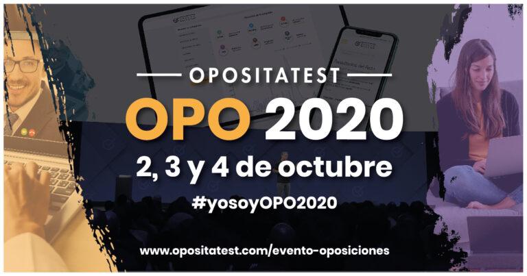 Cartel del evento online de oposicinoes OPO2020. En él se detallan las fechas del evento