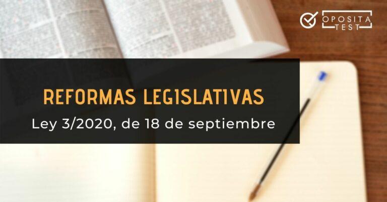 portada de los cambios legislativos que produce la Ley 3/2020