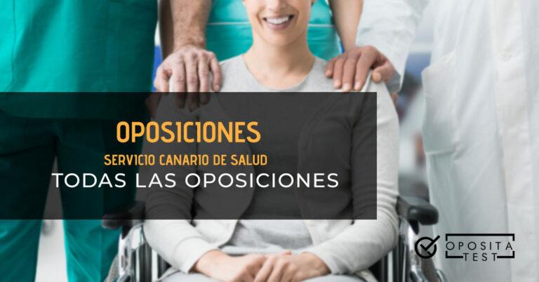 Tres personas del personal sanitario con una mujer en una silla de ruedas. Toda la imagen está fuera de foco. Se utiliza para ilustrar una entrada sobre las oposiciones del Servicio Canario de Salud.