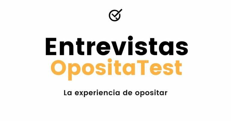 """Imagen genérica con rótulo """"Entrevistas OpositaTest: La experiencia de Opositar"""" en colores corporativos negro y dorado sobre blanco"""