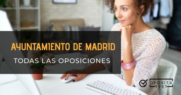 Mujer leyendo en la pantalla de un ordenador sujetando el ratón con una mano y con la otra bajo el mentón. Toda la imagen está fuera de foco. Se utiliza para ilustrar una entrada sobre qué oposiciones hay en el ayuntamiento de Madrid.