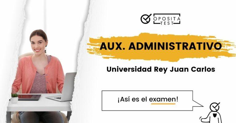 Creatividad que ilustra la entrada sobre el examen de Auxiliar Administrativo de la URJC